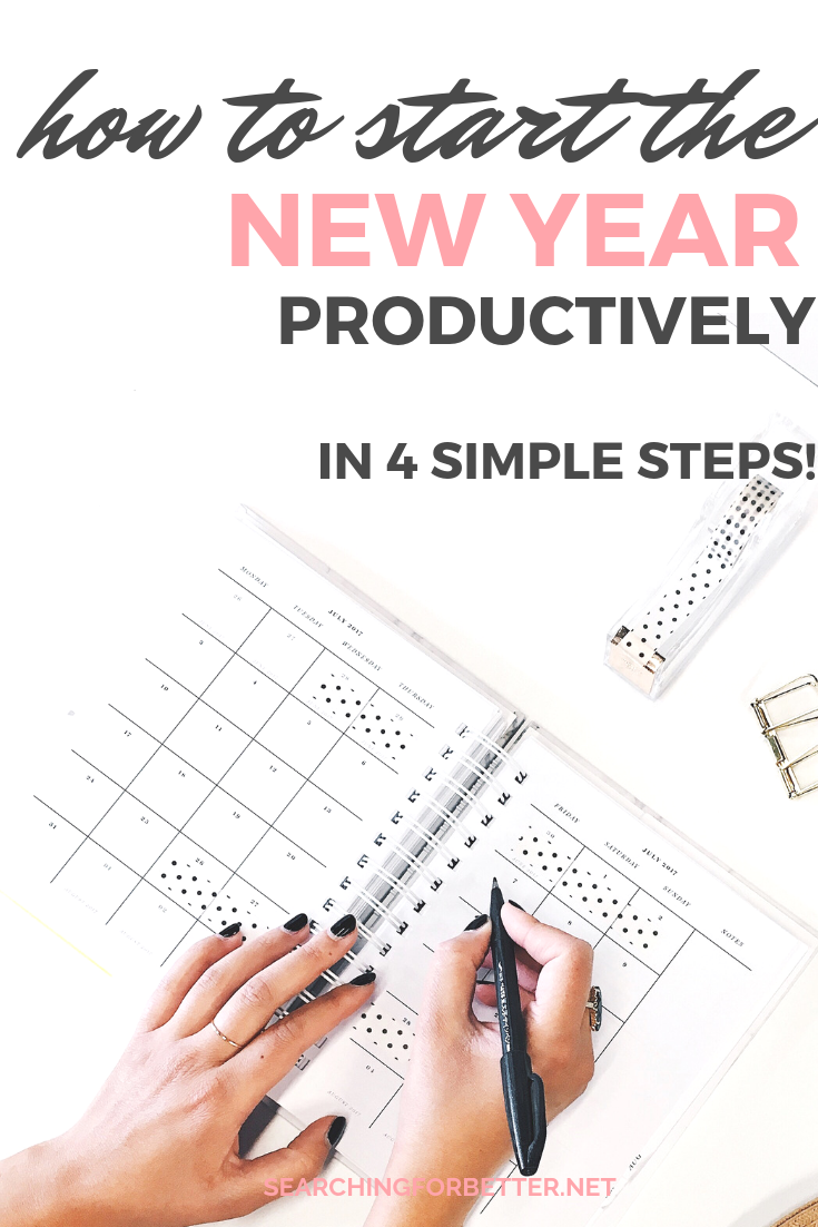 4 Steps To Starting The New Year Productively. Are you sick of losing inspiration for your resolutions or goals early in the year? So was I! Until I found these 4 simple steps. They've been super helpful for staying motivated in my goal setting but also keeping it fun! #newyears #motivation #resolutions #goals #2019
