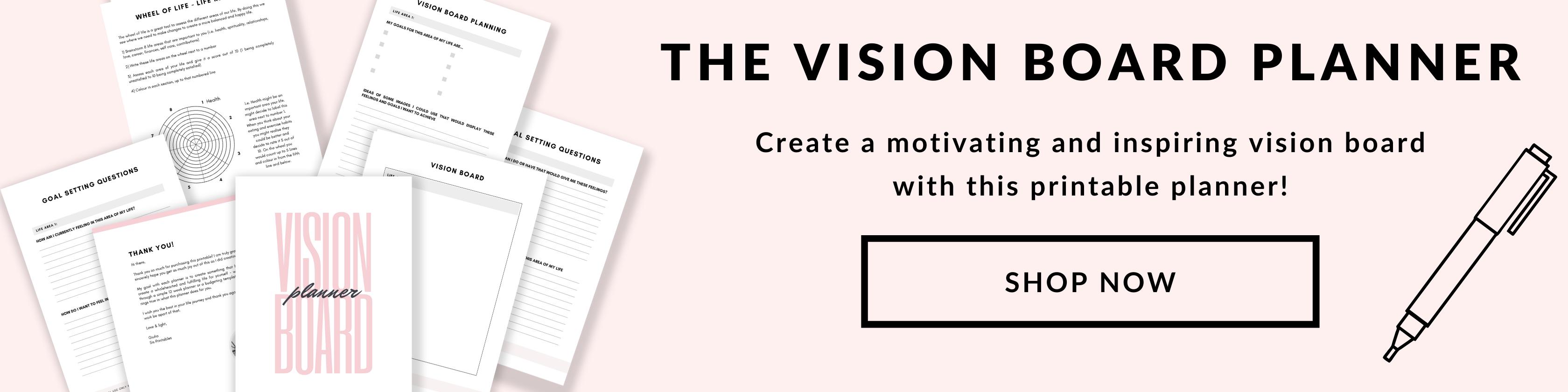 Vision Board Planner Printable