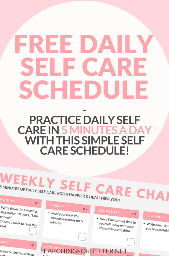 A simple daily #selfcare routine with a checklist to help you practice #selflove everyday! This #free #printable perfect for the busy #mom or #bossbabe with simple 5 minute activities that can be done morning or night! #momlife #love #calm #mindset #healthlyliving #healthy #life