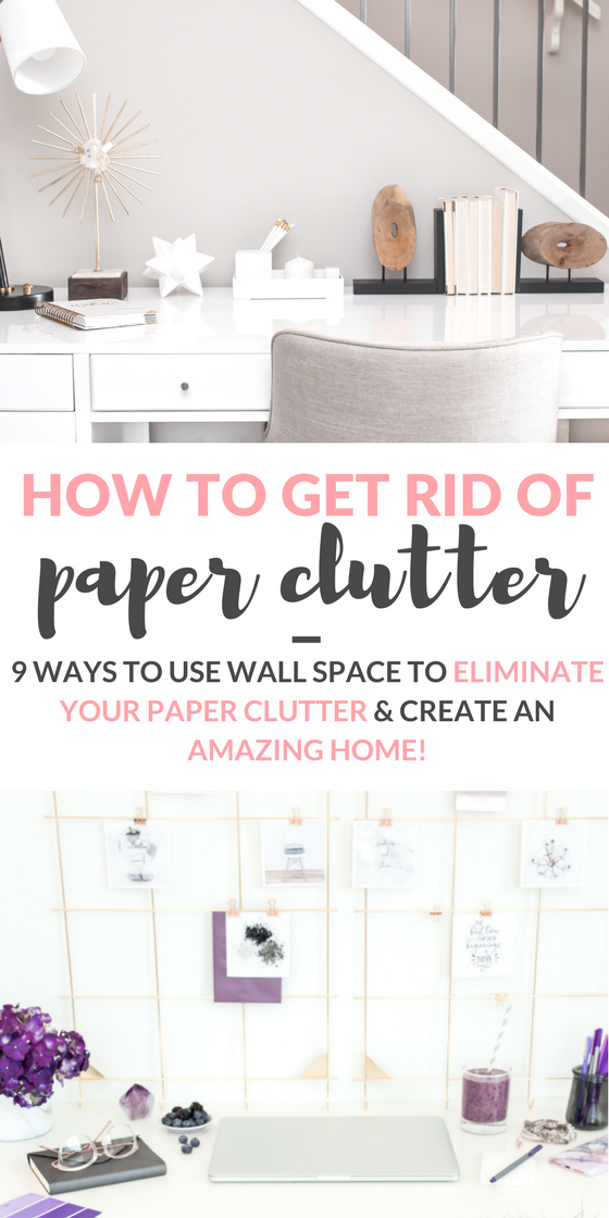 If you're seeing of seeing your paper clutter everything and want a way to FINALLY manage your paper clutter at #home, these #ideas are great! Learn how to organize paper clutter using your extra wall space! They're not only fun, but a great way to finally get your #life organized the way you want it! #organization #momlife #mom #paper #declutter #family #organizing #bossbabe #office #officedecor