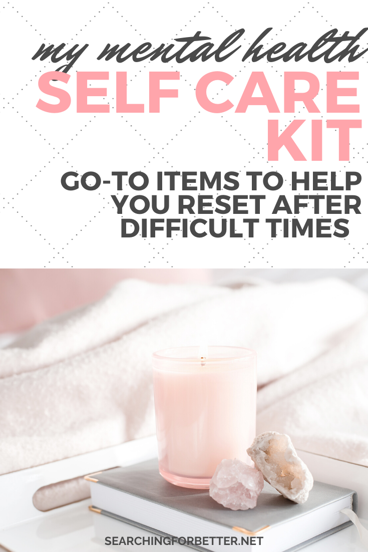My Mental Health Self Care Kit. These items are great to help you create the ultimate DIY self care kit. Whether you're a mom that wants to make a kit for a teacher or it's for teens, these products and items can be used for anyone! These ideas can also give you inspiration tyo make your own self care box as a gift! #selfcare #mentalhealth #wellbeing #health #wellness #mindset #mind #selfcarekit #selfcarebox