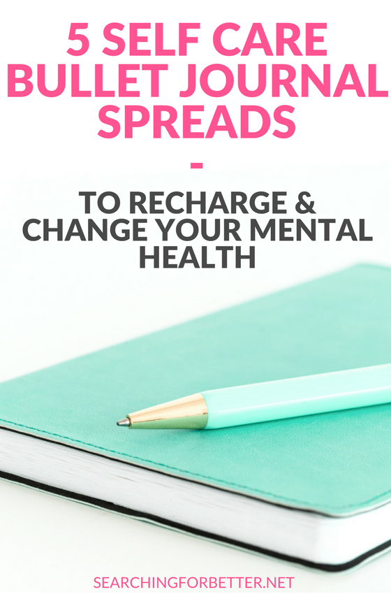 5 #Selfcare #Bulletjournal #Ideas To Improve Your #Mentalhealth. These spreads show you great ways to create your own self care tracker, checklist or list in your #journal to practice #selflove and help you restore your busy #mind. #healthy #bulletjournaling #bossbabe #momboss #journaling #bujo #mindset #mind #healthy #healthylifestyle #lifestyle