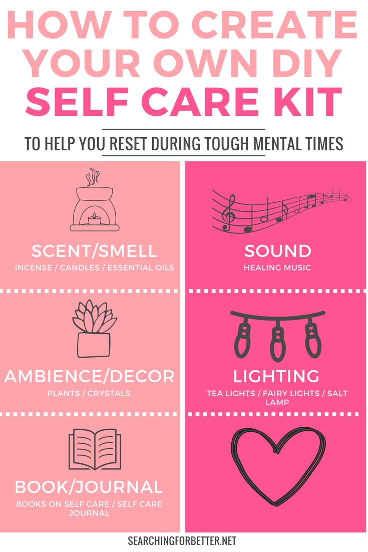 How To Make Your Own #DIY #Selfcare Kit. Create the ultimate first aid kit for depression, anixety or tough mental health days with these 5 simple #ideas. It's an easy way for all the busy #bossbabe or #momboss to decrease stress and feel #happier. #wellness #selflove #mindset #mind #happy #healthylifestyle #lifestyle
