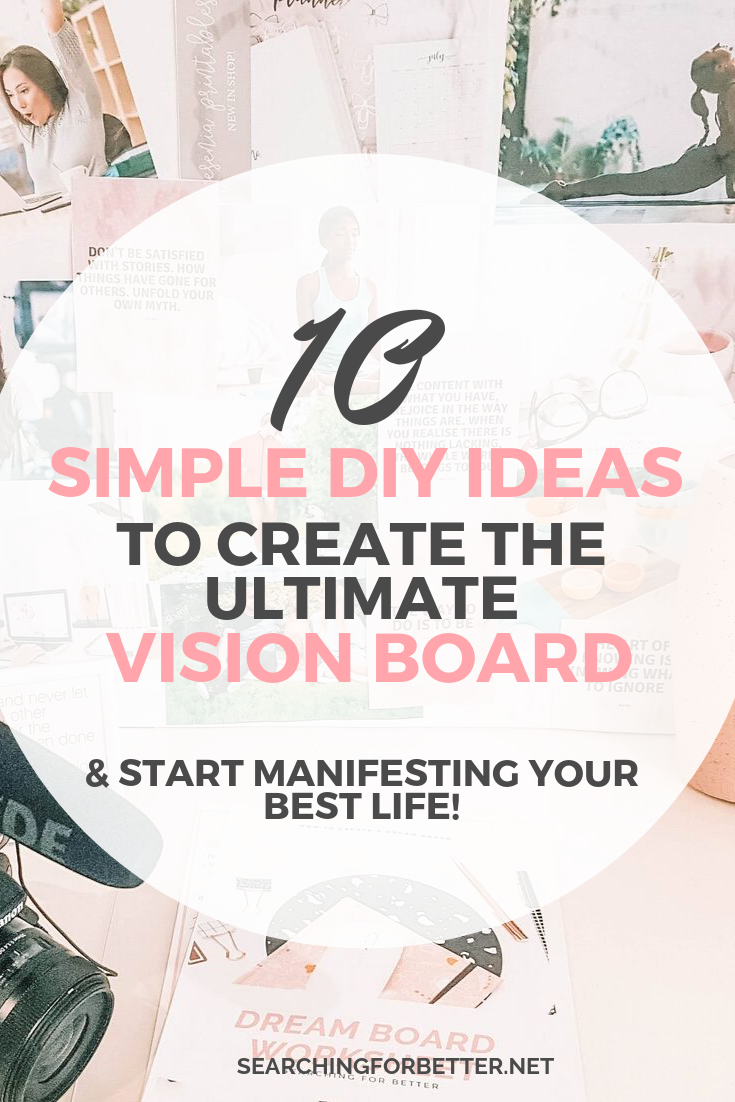 10 Easy Vision Board Ideas To Create The Ultimate Dreamboard // Need some inspiration and ideas on how to create a vision board? This post if full of simple examples of how you can DIY your vision board using questions, printables and anything else you need to create the ultimate board for your goals! Let's start using that law of attraction :) #visionboard #goals #goalsetting #lawofattraction #goal #dreamboard #visionboard