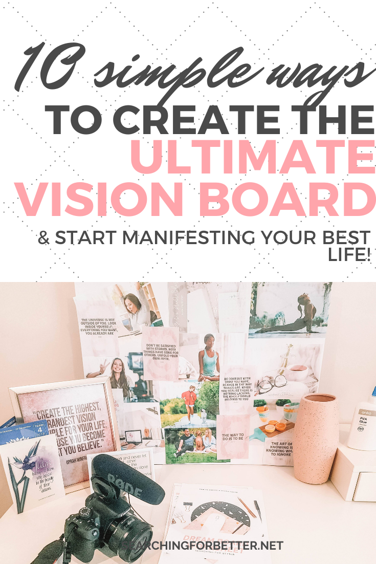 10 Easy Vision Board DIY Ideas To Create The Ultimate Dreamboard. These are 10 simple ideas on how to make a vision board for 2020. They're great examples and inspiration on how to create the ultimate dreamboard and get that law of attraction working for you! I love this post because it has both pictures and tutorials on how to make them! #goalsetting #goals #2020 #visionboard #dreamboard #lawofattraction