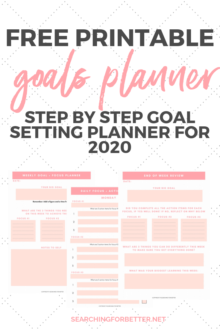 Free Printable Goal Planner For 2020! This is the perfect planner to start putting your life goals into action in 2020! This simple template helps you to break down your big goals into weekly and daily focuses and tasks. You can uses it for all your long term planning and print it as many times as you like! #goalsetting #goals #2020 #planning #organized