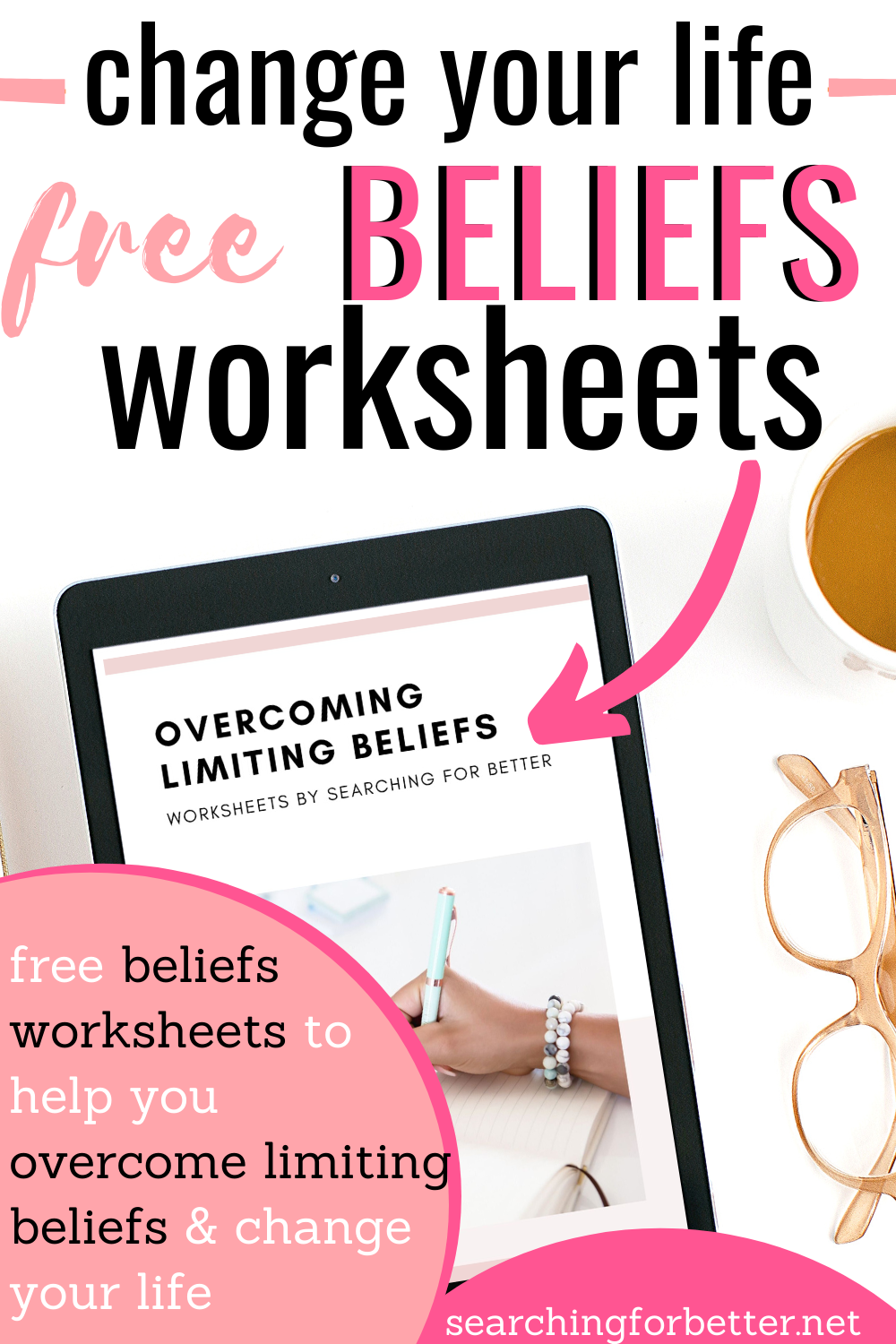 Free Limiting Beliefs Worksheet. Learn how to overcome limiting self beliefs and how to get rid of those common negative self beliefs that we all have with this free worksheet! It is truly life changing!
