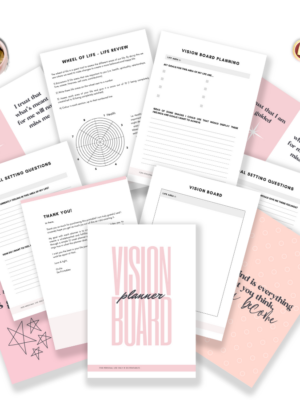 Vision board planner printables // This vision board printable is designed to help you not only create an amazing DIY vision board, but also help you with your goal setting. It gives you ideas on how to make a vision board that truly manifests your best life. These template printable pages are easy to use!